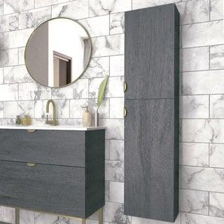 Bathroom Column Cabinet | Smug | Akron Oak Wood Finish | Gold Old Handles | 30 X 140 X 27 CmW 12 X H 55 X D 10 In