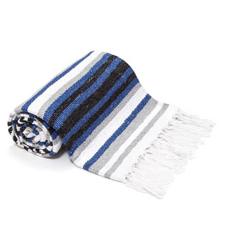 The Curated Nomad Severen Blue Striped Authentic Yoga Blanket