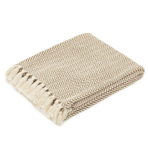 The Curated Nomad Renere Camel and Beige Herringbone Throw Blanket with Fringe