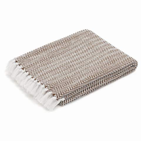 The Curated Nomad Renere Chocolate and White Herringbone Throw Blanket with Fringe