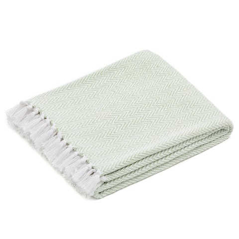 The Curated Nomad Renere Seafoam and White Herringbone Throw Blanket with Fringe