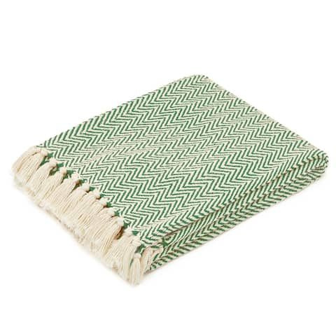 The Curated Nomad Renere Sage and Beige Herringbone Throw Blanket with Fringe