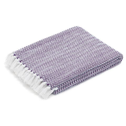 The Curated Nomad Renere Purple and White Herringbone Throw Blanket with Fringe
