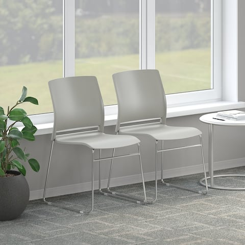 Set of 2 Stackable Chairs in Gray by Bush Business Furniture