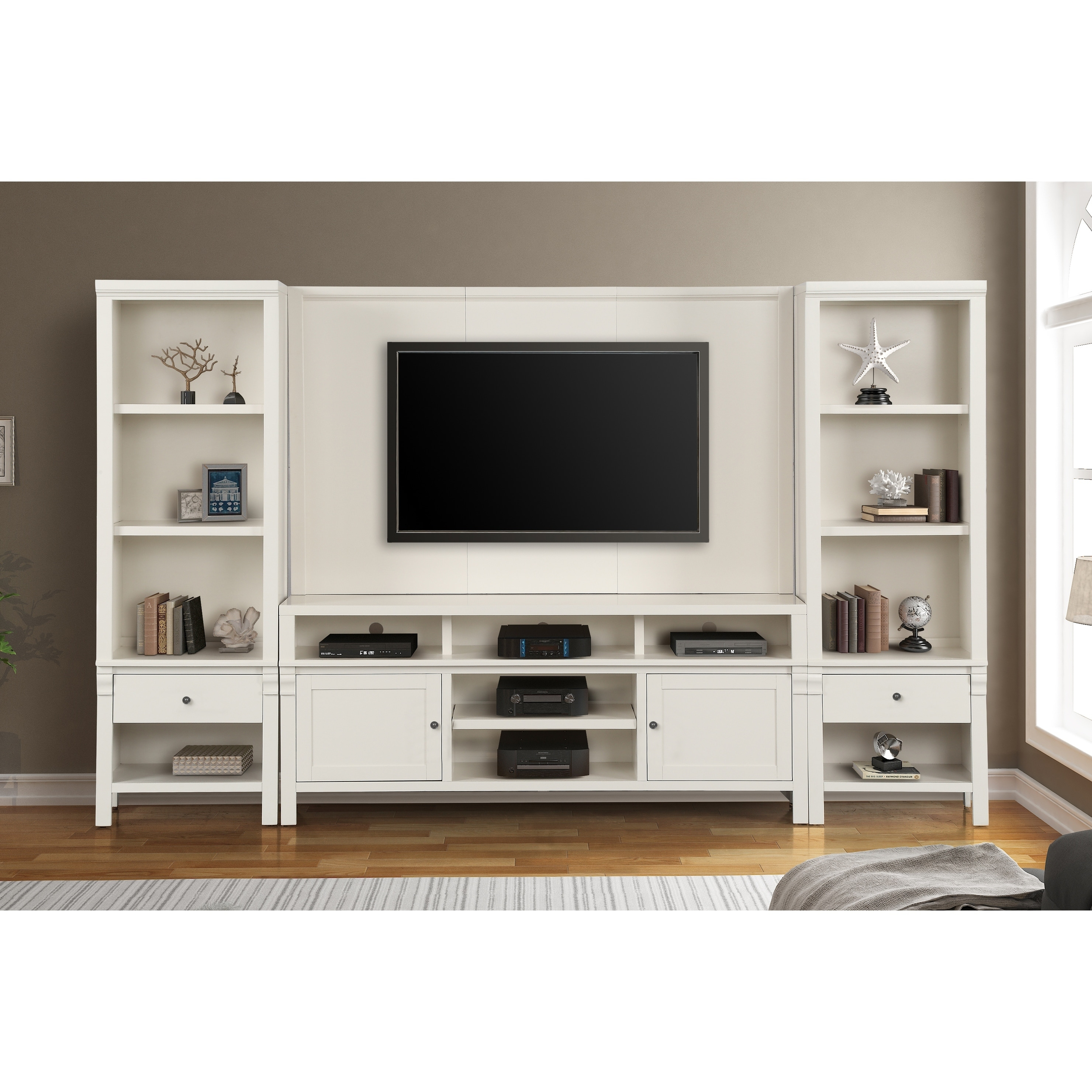 white living room entertainment center Chandler modern tv wall unit