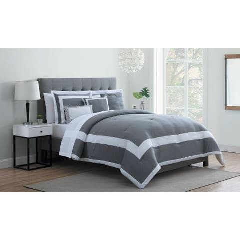 Porch & Den Queen Elizabeth Stripe Edge Microfiber Bed-in-a-Bag Comforter Set
