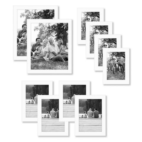 Americanflat 10-Piece Multi Pack White Frames; Includes Two 8x10 Frames, Four 5x7 Frames, Four 4x6 Frames