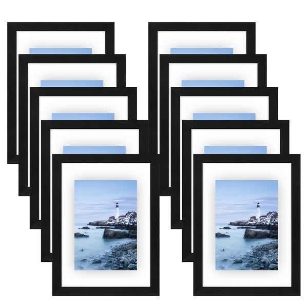 Americanflat 10 Pack - 8x10 Black Floating Frames - Modern Picture Frames Designed to Display Floating Photographs