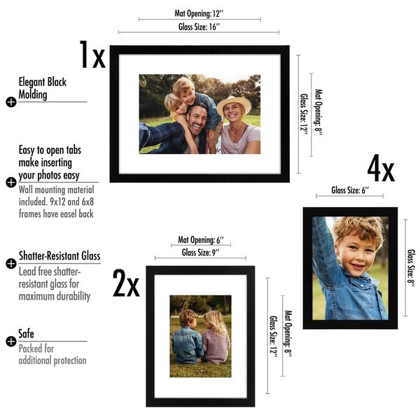 Set of 6-12x16 Black Wood Picture Frames and Clear Glass