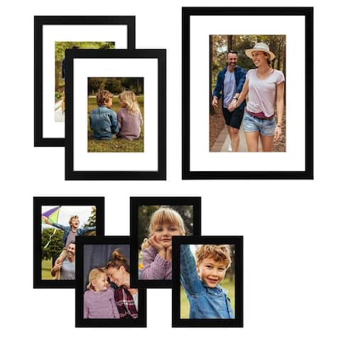 Americanflat 7 Pack Gallery Wall Set - Includes: (1) 12x16 Frame, (2) 9x12 Frames, and (4) 6x8 Frames, Black