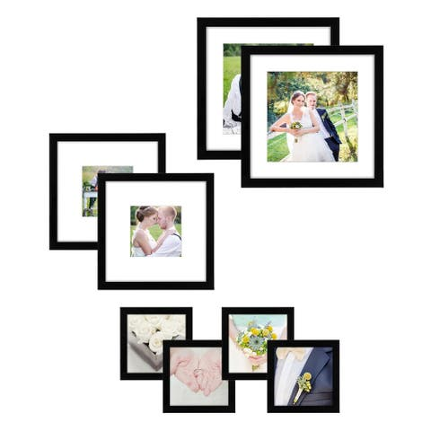 Americanflat 8 Pack Gallery Wall Set - Includes: (2) 11x11 Frames, (2) 8x8 Frames, and (4) 4x4 Frames, Black
