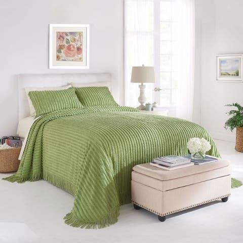 Channel Chenille Bedspread Full - Sage