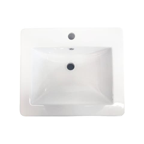 CB HOME Ceramic Drop in Bathroom Countertop Basin with Faucet Hole