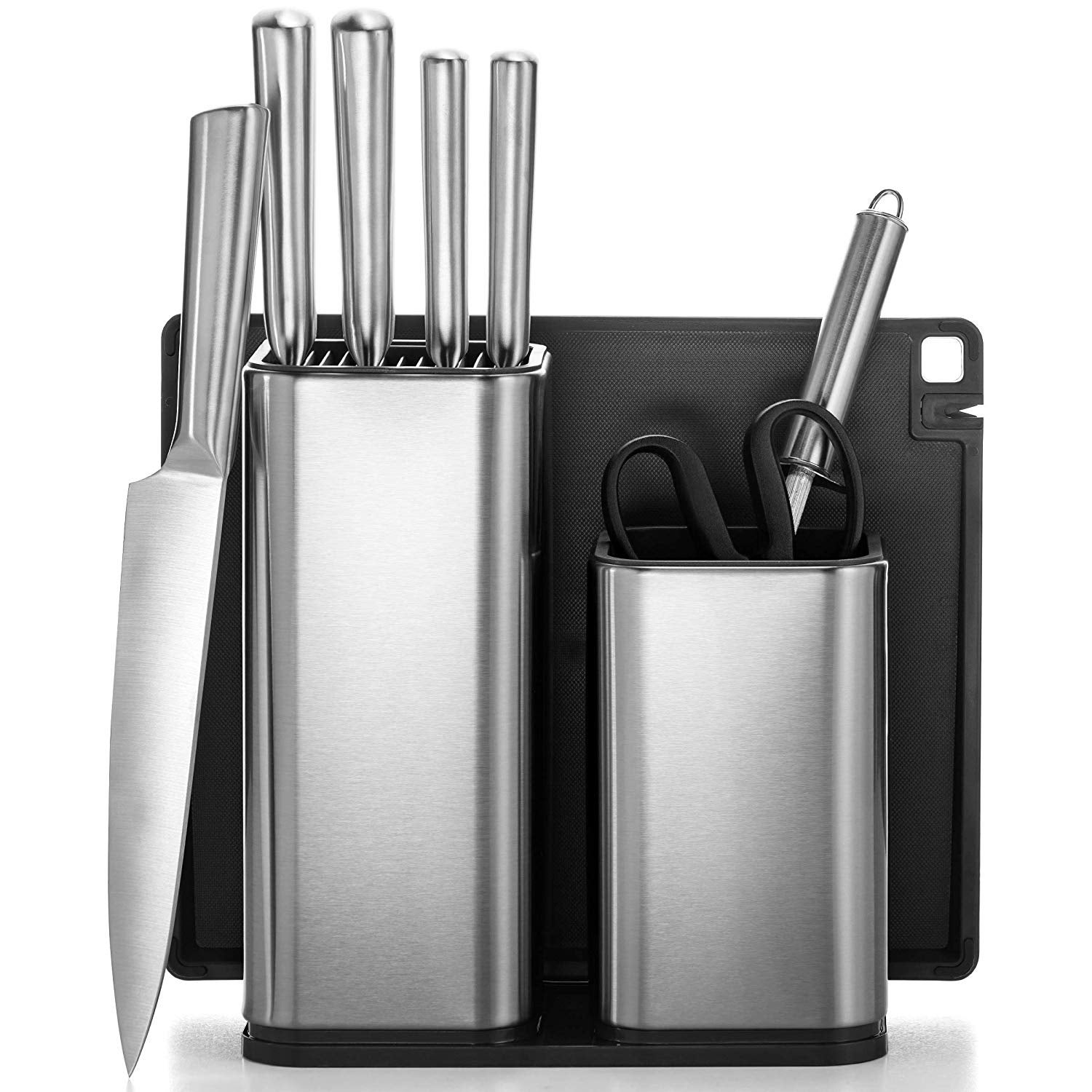 10 Piece Stainless Steel Kitchen Knife Set With Utensil Holder 5 S S Knives Knife Sharpener Kitchen Scissors Cutting Board On Sale Overstock 30428559