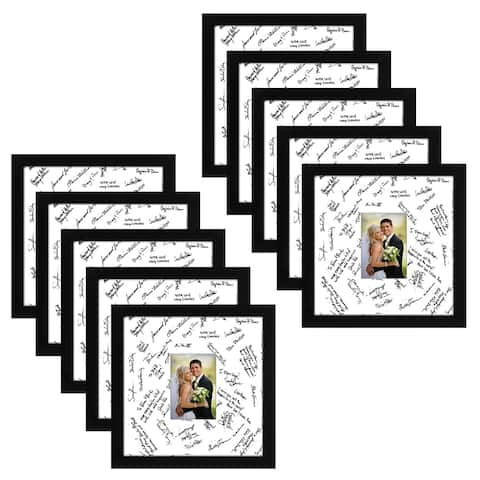 Americanflat 10 Pack - 14x14 Wedding Signature Picture Frames - Display Pictures 5x7 with Mats & 14x14 Without Mats