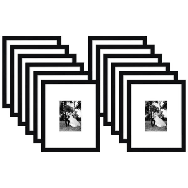 Americanflat 12 Pack - 11x14 Black Picture Frames - Display Pictures 5x7 with Mats - Display Pictures 11x14 Without Mats