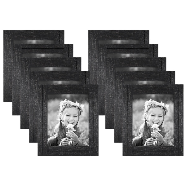 Americanflat 10 Pack - 8x10 Charcoal Black Distressed Wood Frames - Made to Display 8x10 Photos - Ready to Hang & Stand