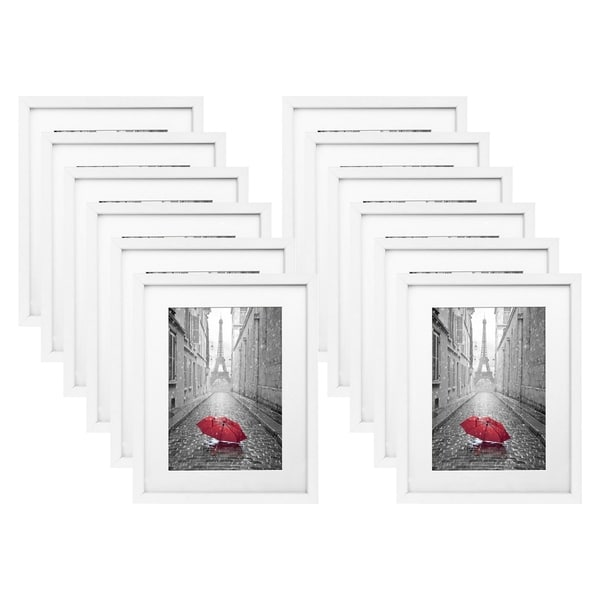 Americanflat 12 Pack - 11x14 White Picture Frames - Made to Display Pictures 8x10 with Mats or 11x14 Without Mats
