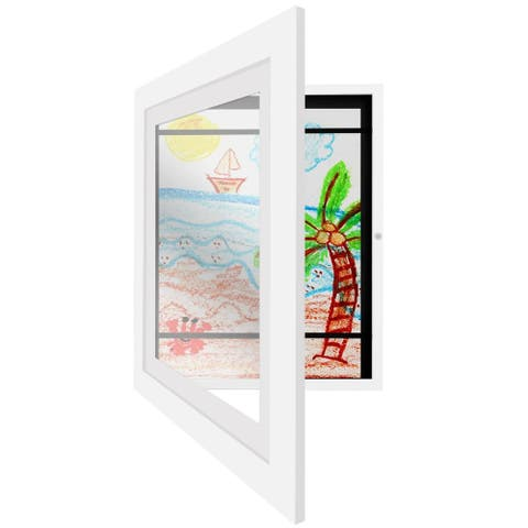 Americanflat White Kids Artwork Picture Frame - Display Artworks Sized 8.5x11 with Mat and 10x12.5 Without Mat