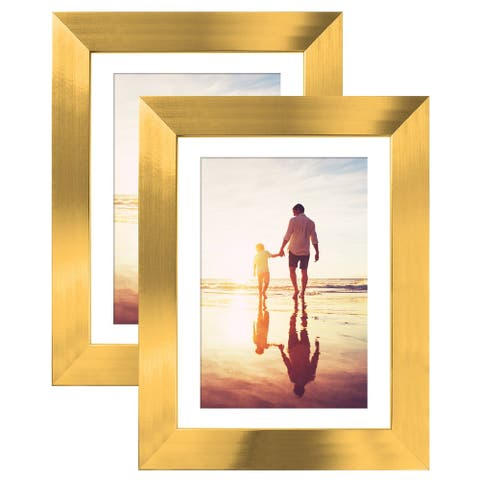 Americanflat Two Gold Tabletop Frames - Display Pictures Sized 4x6 Inches Mat 5x7 Inches without Mat