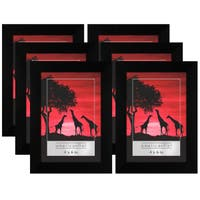 Americanflat 6 Pack - 4x6 Picture Frames - Display Pictures 4x6 Inches - Easel Backs - Built-in Hangers