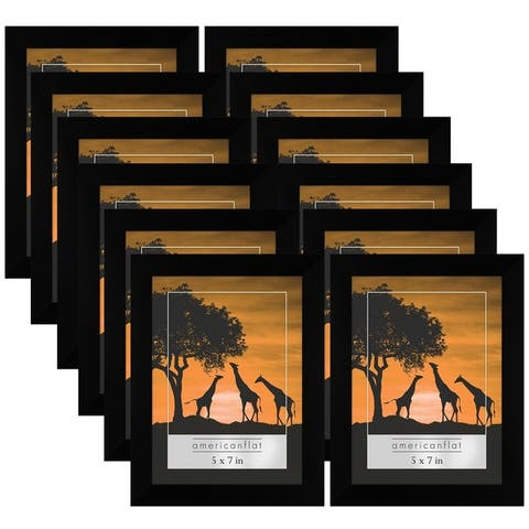 Americanflat 12 Pack - 5x7 Picture Frames - Display Pictures 5x7 Inches - Easel Backs - Built-in Hangers