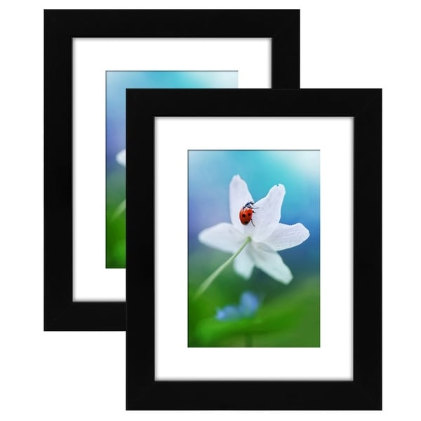 Americanflat 2 Pack - 6x8 Tabletop Frames - Display Pictures 4x6 with Mat - Display Pictures 6x8 Without Mat