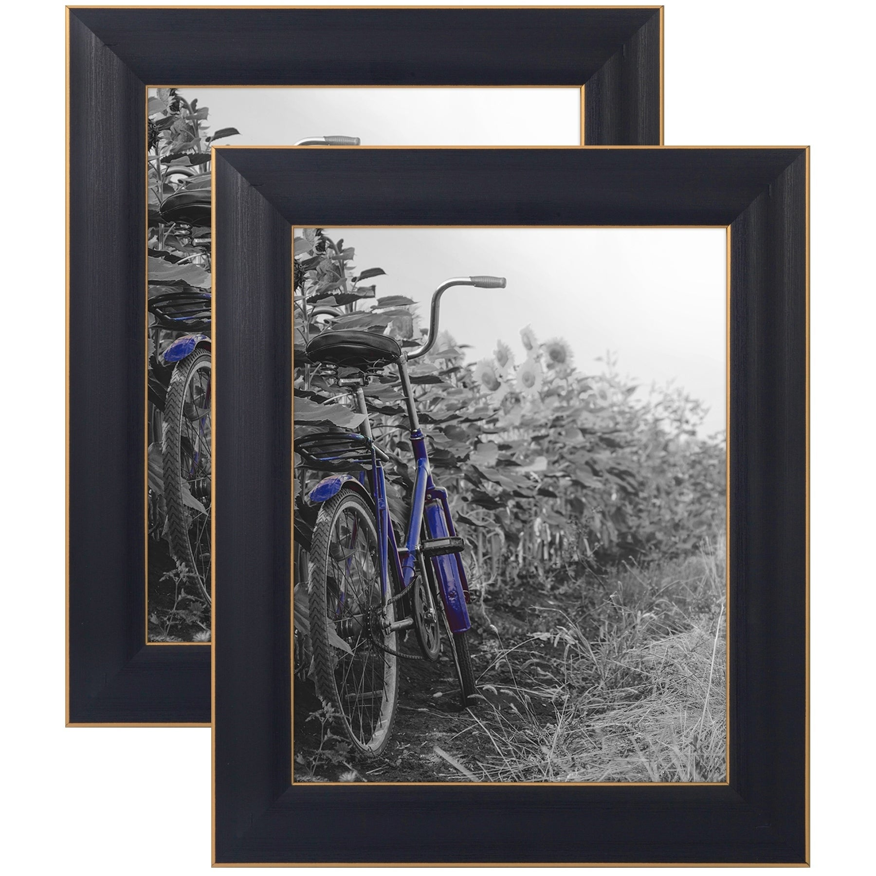 2 Pack 8x10 Rustic Picture Frame Set with Glass// Mat 5x7 Photo for Wall//Tabletop