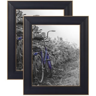 Americanflat 2 Pack - 8x10 Black Rustic Picture Frames Easels - Made Wall Tabletop Display