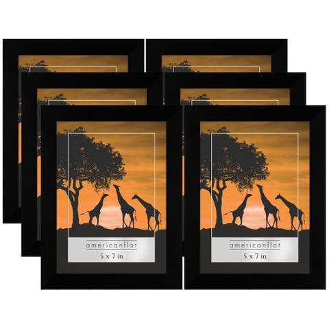 Americanflat 6 Pack - 5x7 Picture Frames - Display Pictures 5x7 Inches - Easel Backs - Built-in Hangers