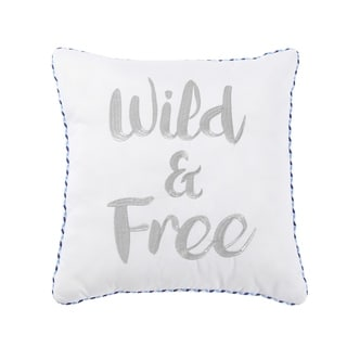 VCNY Home Wild and Free Embroidered Boho Decorative Pillow