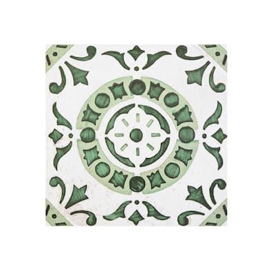 Retro 12x12 Self Adhesive Floor Tile-Green Medallion 20 Tiles/20 sq ft