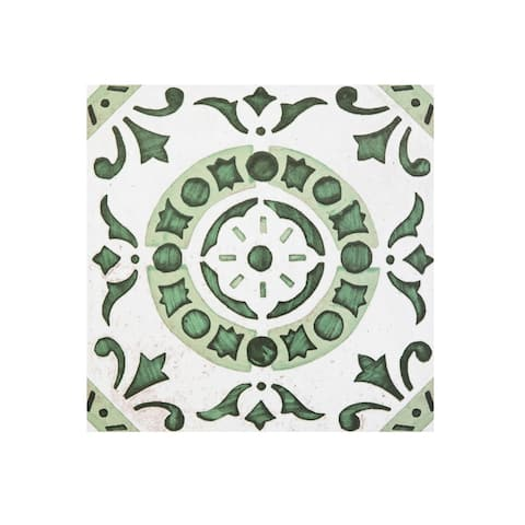 Retro 12x12 Self Adhesive Floor Tile-Green Medallion 20 Tiles/20 sq ft