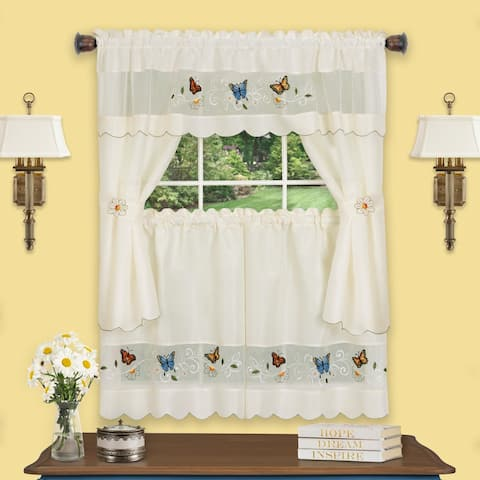 Daisy Meadow Embellished Cottage Window Curtain Set 58x24