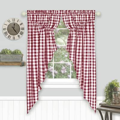 Buffalo Check Gathered Swag Window Curtain Pair - 72x63