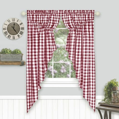 Buffalo Check Gathered Swag Window Curtain Pair - 72x63