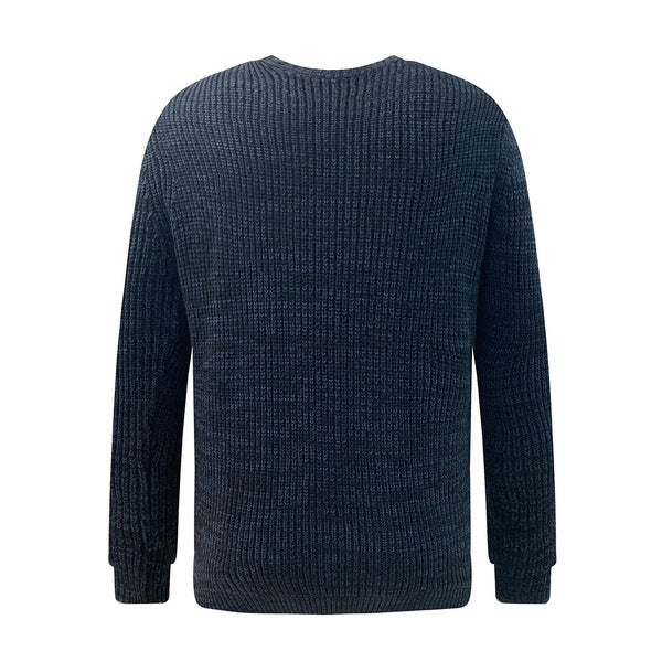 Mens Soft Classic Rib Stitched Crew Neck Sweater Large Navy