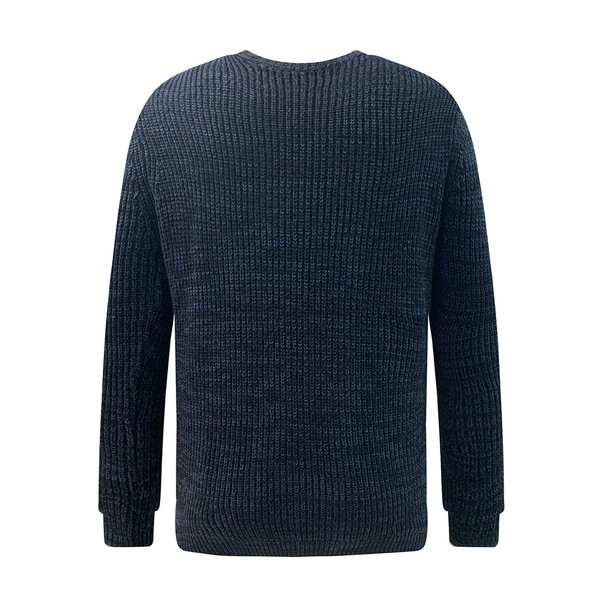 Mens Soft Classic Rib Stitched Crew Neck Sweater Medium Navy