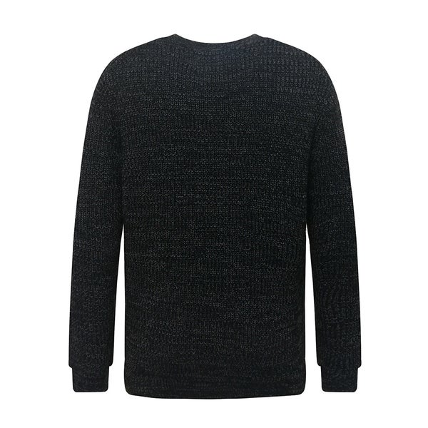 Mens Soft Classic Rib Stitched Crew Neck Sweater Large Black