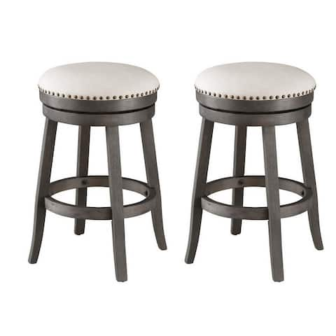 Set of 2 Swivel Counter Stools - N/A