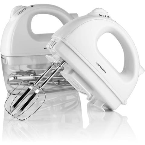 Ovente HM161W Electric Hand Mixer with 2 Stainless Steel Chrome Beaters and Extra Snap-On Case Storage, White