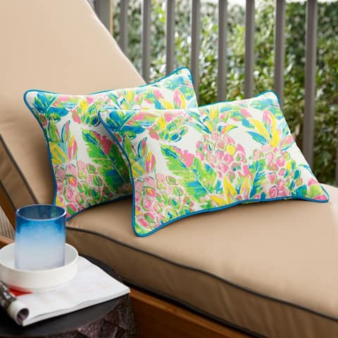 Pink and Blue Pineapples Oblong Indoor/Outdoor Corded Chair Pillows (Set of 2) by Havenside Home