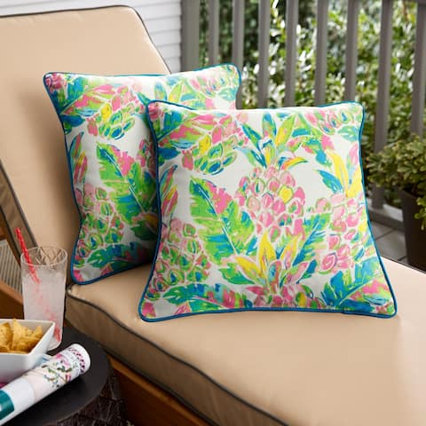 Pink and Blue Pineapples Square Indoor/Outdoor Corded Chair Pillows (Set of 2) by Havenside Home