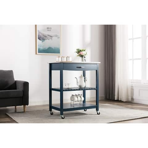 Copper Grove Fortuna Grey Kitchen Cart with Stainless Steel Top