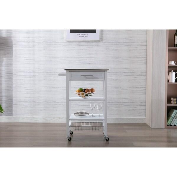 Hennington Kitchen Cart With Stainless Steel Top, White Wash
