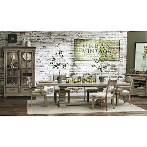 Grey Distressed Pedestal Table