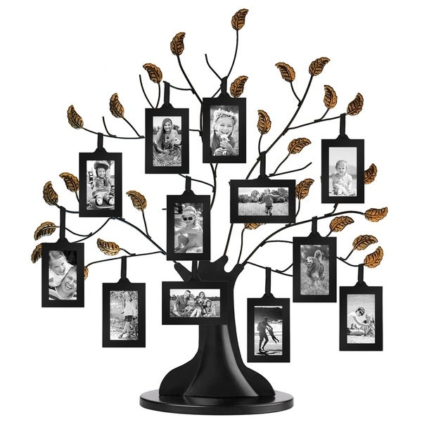 Americanflat Bronze Family Tree Frame with 12 Hanging Picture Frames