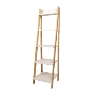 Porch & Den Silverado Natural/ White Solid Wood Split 5-shelf Ladder Unit
