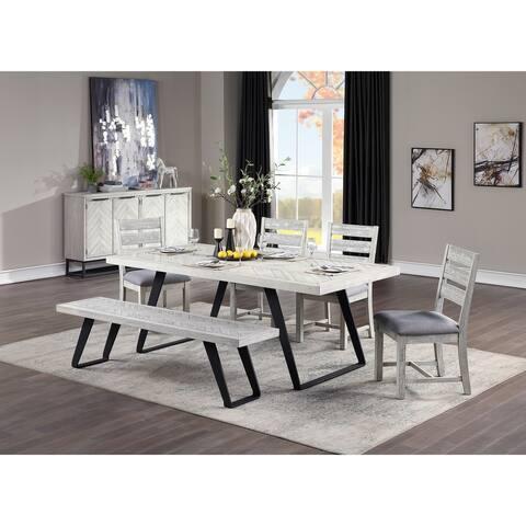"Somette Aspen Court II White Rub Dining Chairs, Set of 2 - 19""W x 23""L x 37.5""H"