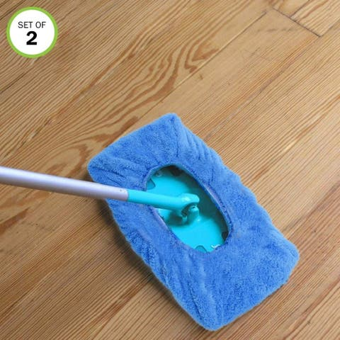 Evelots Microfiber Sweeper Non-Abrasive Adjustable Cloth Heads- Set of 2 - Set of 2